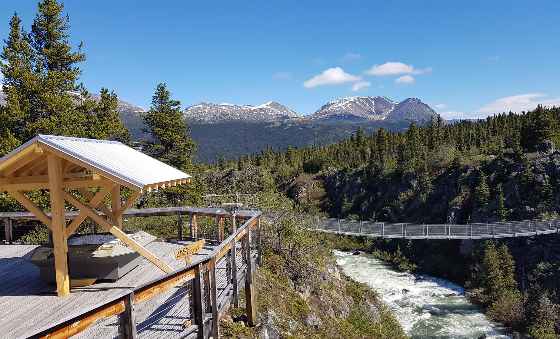 Yukon Suspension Bridge by Jeep