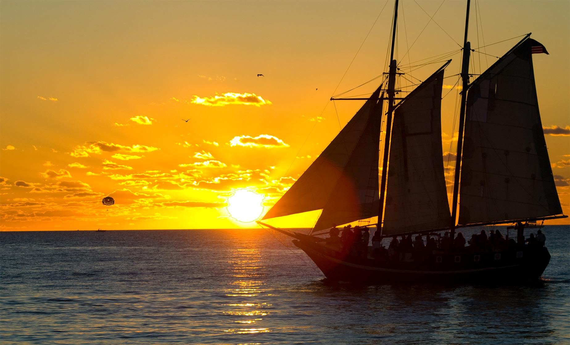 Wooden Schooner Sunset Sail