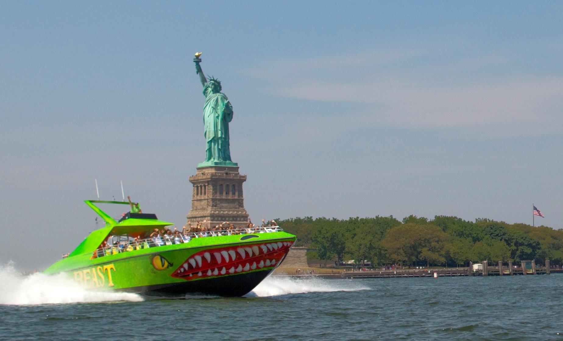 New York Beast Speedboat Ride to Statue of Liberty (Hoboken Terminal, Ellis Island)