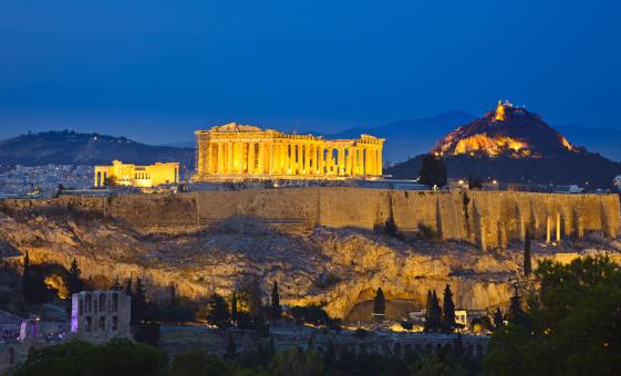 Athens at Night with Greek Dinner Show and Plaka