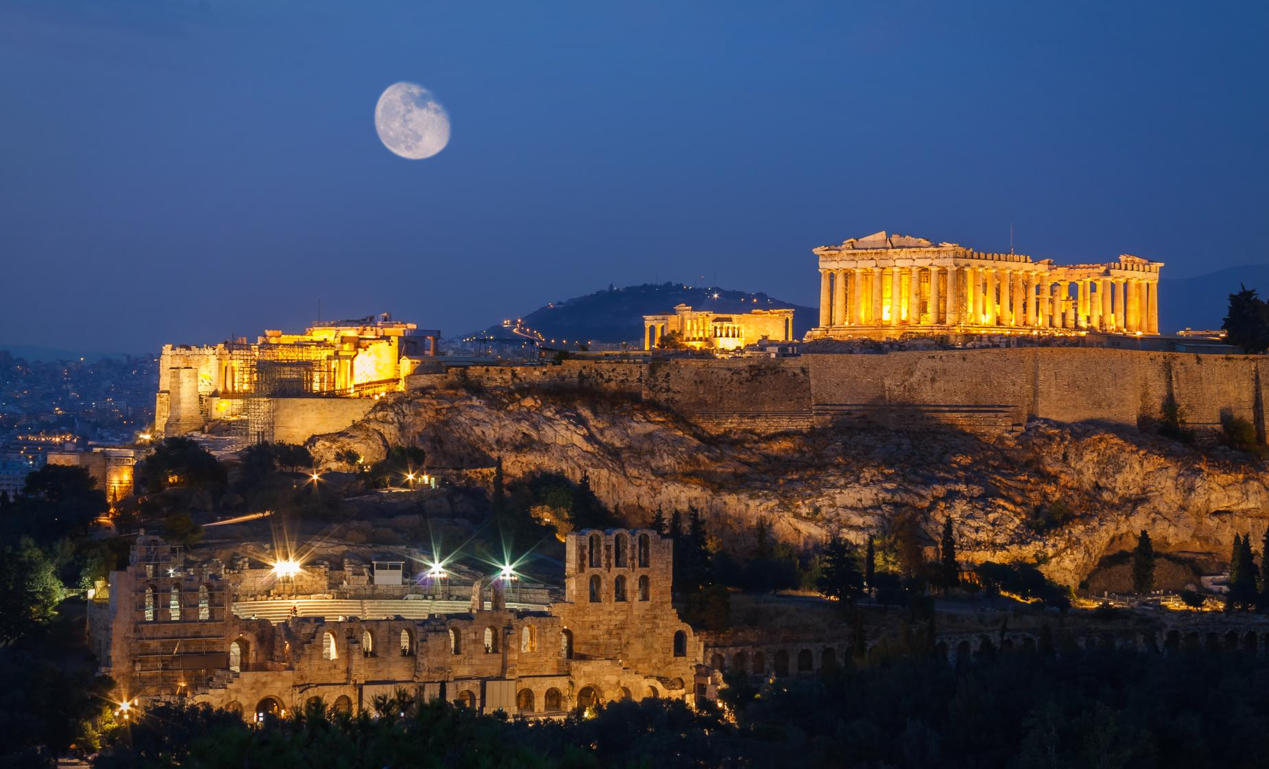 Athens at Night with Greek Dinner Show Tour (Museum of Ancient Greek Musical Instruments)