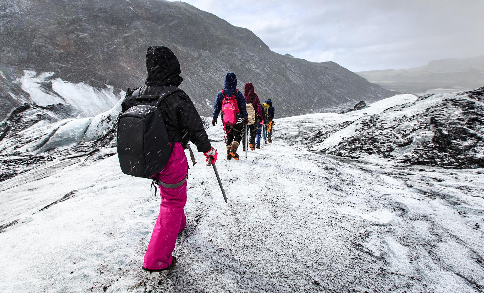 Hike and ice climb Solheimajokull glacier, see Skogafoss waterfall, near Skoga River