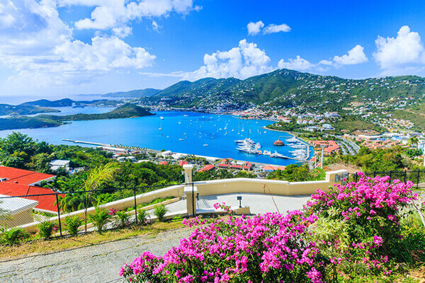 St. Thomas excursions to hillside view of scenic port.
